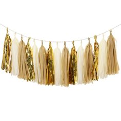 AmazonSmile: Ling's moment 15pcs Tissue Paper Tassels Garland, Mixed 3 Colors(Kraft+Ivory+Metallic Gold): Home & Kitchen