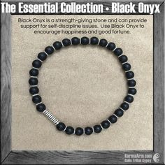 Use Black Onyx to encourage happiness and good fortune. #Black #Onyx is a strength-giving stone and can provide support for self-discipline issues. #yoga #Mala #Bead #Bracelet #mens #bracelets #womens #energy #healing #spiritual #meditation #crystal #crystals #love #style #luck #lucky #artisan #handmade #jewelry #OOAK #fashion #blessed #design #karma #buddha #blue #detox
