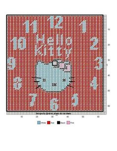 HELLO KITTY CLOCK - PLASTIC CANVAS PATTERN Plastic Canvas Tissue Boxes, Plastic Canvas Crafts, Plastic Canvas Patterns, Box Patterns, Beading Patterns, Canvas Door Hanger, Tissue Box Covers, Stuffed Animal Patterns, Cross Stitching