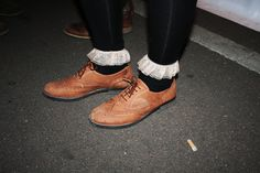 Brown oxfords + frilly socks.