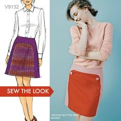 A-line skirts are on every fashion editor's fall trend list. Sew the look with Vogue Patterns and do some interesting fabric pairings or color-blocking. Skirt Patterns Sewing, Vogue Sewing Patterns, Mccalls Patterns, A Line Skirts, Mini Skirts, Pin Up, Fitted Skirt, Fall Trends, Fashion Editor