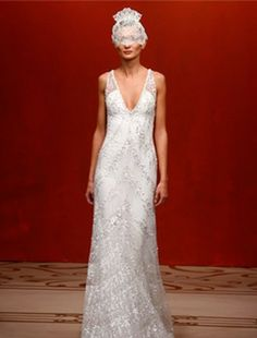 Reem Acra - V-Neck Sheath Gown in Beaded Embroidery