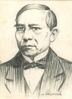 Salvador Pruneda, Banito Juárez, lápiz sobre papel, ca. 1960. Archivo Gráfico de El Nacional, Fondo Gráficos. INEHRM.
