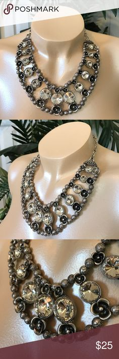 "Necklace Set Worn Silver tone metal bib statement necklace with round clear crystal design. 3""L extender chain attached to necklace for ease of use. 1""L matching fish hook (pierced) dangling earrings. Boutique Jewelry Necklaces"
