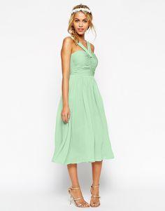 Bild 1 von ASOS – WEDDING – Mittellanges Kleid mit Neckholderdetails