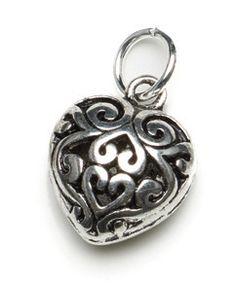 Puffed Heart Charm for Lizzy James Charm Bracelets