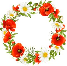 Clip Art Of A Summer Flower Wreath