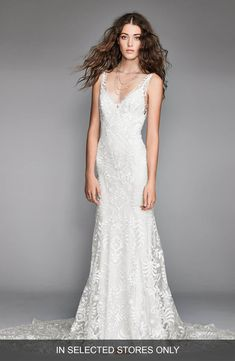 db8a16d7b4f Corella Embroidered Lace   Charmeuse Mermaid Gown