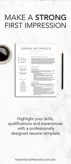 Teacher Resume Template CV Template MS Word Professional - how to make a cover page for a resume