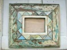 Mosaic Picture Frame Made With Reclaimed Wood by woodenaht on Etsy. $74.00, via Etsy.