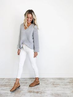 Free People Slate Grey V-Neck Sweater  Heavy Knit   Oversized  Cuffed Long Sleeves  Perfect Pullover  Also Available in White  Model wearing size x-small