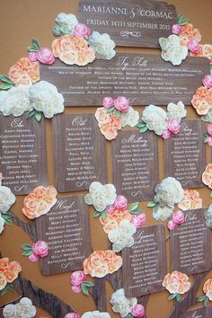 One of the most important problems to solve planning a wedding is where and who will sit. After you solve it, you are to choose a seating chart design and make corresponding escort cards. What are the ideas for a seating chart? Tree Wedding, Wedding Table, Our Wedding, Wedding Beach, Wedding Ceremony, Wedding Stationery, Wedding Planner, Tableau Marriage, Seating Plan Wedding