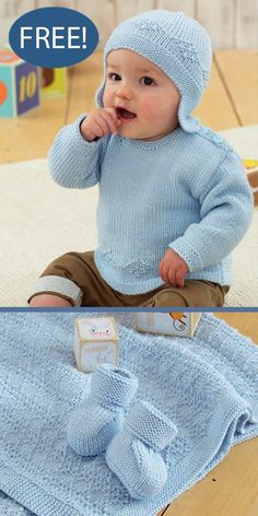 Free Baby Set Knitting Pattern Sweater, Blanket, Earflap Hat, Bootees Sirdar 4848 Matching baby pullover sweater with buttons at shoulders for easy dressing, blanket, earflap hat, and booties featuring a diamond texture. Sizes Sweater, Hat, Booties: 0-6 Months, 6-12 Months, 1-2 Years, 2-3 Years. Blanket 90 x 90cm (35.5 x 35.5in). Sweater, Helmet, Bootees and Blanket Sirdar 4848. DK weight yarn. Yarn also available on pattern page. Baby Cardigan, Sweater Blanket, Sweater Hat, Dk Weight Yarn, Security Blanket, Free Baby Stuff, Baby Knitting Patterns, Simple Dresses, Crochet Hats