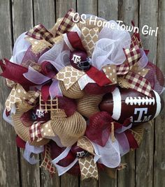 Aggie Football and Helmet Wreath by CSHomeTownGirl on Etsy