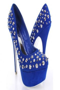 Royal Blue Faux Suede Rhinestone Spike Studded Heels | My style ...