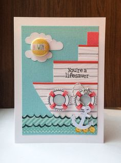 Lawn Fawn - Float My Boat + coordinating dies, Let's Polka 6x6 paper, Let's Polka Flair and Mixed Sequins, Lawn Trimmings cord Sky _ fun card by Keren Baker