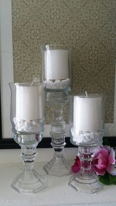3 piece glass candle holder centerpiece set