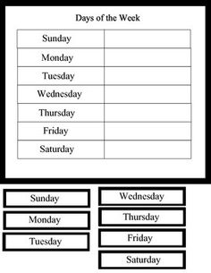 FREE Easy Days of the Week Activity
