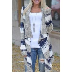 Cardigan Stylish Long Sleeve Knitted Irregular Loose-Fitting Cardigan For Women Rose Sweaters Cardigans Striped Cardigan, Long Cardigan, Knit Cardigan, Cardigan Sweaters, Loose Sweater, Long Sweaters, White Sweaters, Cheap Sweaters, Chiffon Cardigan