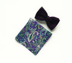 Royal purple knit Pre-tied bow tie purple paisley pocket square gift for men wedding purple bow tie groomsmen by TheStyleHubTrends on Etsy