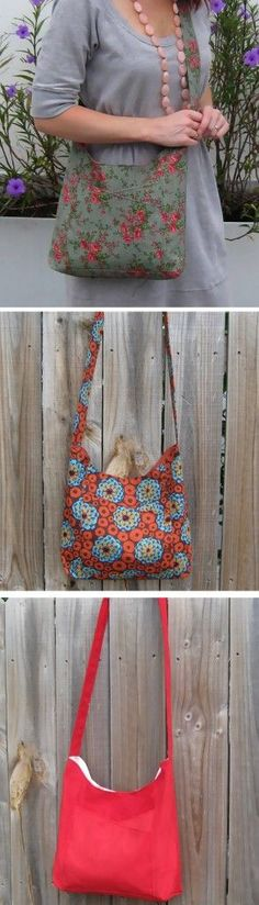 This woild be awesome, with pockets straight acrossed.  <3.  Sew a bag with the free bag pattern | Sew Easy