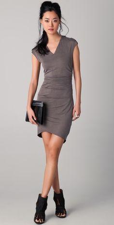 Helmut Lang Torrent Side Ruched Dress thestylecure.com