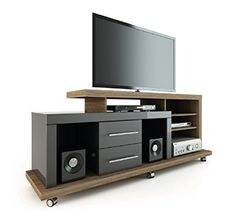 Manhattan Comfort Empire TV Stand in Avalon Gloss and Onyx