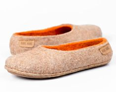 Beige orange felted wool slippers for women decorated natural alpaca wool Warm Christmas gifts for her