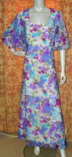 Vintage 1970s Carnegie 30s 40s art deco style purple lilac floral angel sleeve party hostess maxi dress (5052) by AuntyDollsWardrobe on Etsy