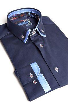 Franck Michel shirt - Double Collar - Majestic Navy Blue - Men Fashion - 1