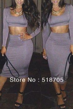 deb10879d9 Womens 2 Piece long sleeve thicken Bodycon Crop Tops Skirt Sweater Sweater  Skirt