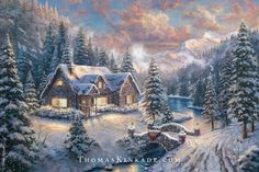 """Introducing a new Holiday painting from the Thomas Kinkade Vault – """"High Country Christmas""""! This image is particularly special because it is based on the Christmases Thom spent with his family at their cabin in the Sierra Nevada mountains. The Kinkade's made many beautiful Holiday memories here, building snowmen, making snow angels and having countless snowball fights. www.winwithmtee.com"""