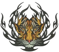 Tiger badge machine embroidery design