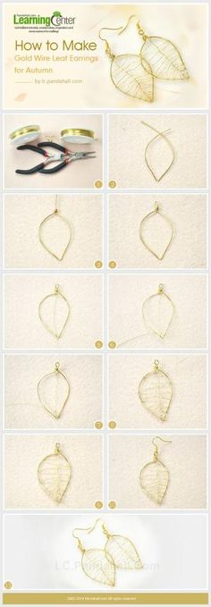 How to Make Gold Wire Leaf Earrings for Autumn by wanting