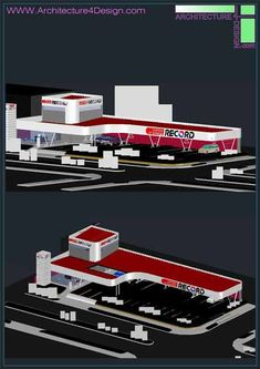 3D designs of gas station (Autocad collection) | Architecture for Design