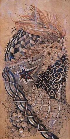 Conti crayon, chalk, pen and pencil on Lokta paper from Nepal by Maria Thomas, Zentangle founder