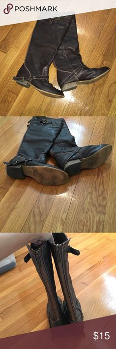 Brown Boots with buckles Brown riding boots! Great condition. Small wear on bottoms. Breckelles Shoes Winter & Rain Boots