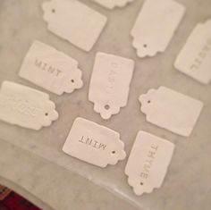 """ceramic"" plant tags -  I would use them for scrapbooking & altered art!   from: http://www.designsponge.com/2013/04/diy-ceramic-tag-plant-markers.html"