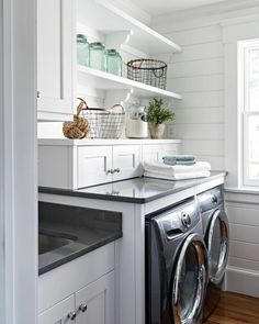 """3,754 Likes, 21 Comments - Home Bunch (@homebunch) on Instagram: """"Gorgeous #laundryroom with #whitecabinets painted in Benjamin Moore PM-2, #tongueandgroove…"""""""