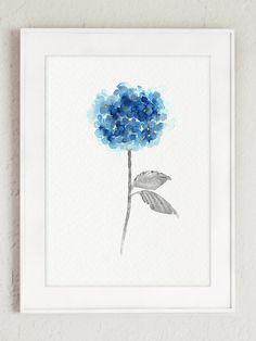 Blue Hydrangea Rustic Wedding Flowers Set of 2 Home Decor, Hydrangeas Giclee…