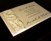 Ivory Vintage Lace Wedding Invitation & RSVP - with pearl and diamante cluster. $240.00, via Etsy.