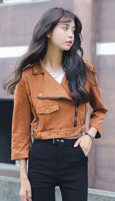 Fashiontroy Hipster & indie long sleeves lapel collar fringed pocket suedette jacket