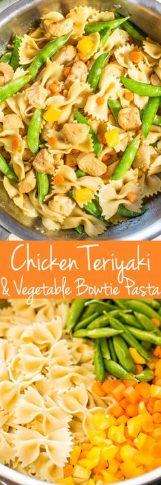 Chicken Teriyaki and Vegetable Bowtie Pasta - Juicy chicken coated in teriyaki sauce with crisp, crunchy veggies! Healthy, easy, 20 minute meal that's perfect for busy weeknights, potlucks, picnics, and parties! #MemorialDay #FathersDay #FourthofJuly