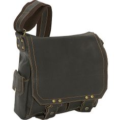 #DavidKingCo, #MessengerBags - David King & Co. Distressed Leather Vertical Letter