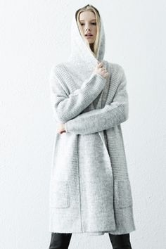 Jumpers & Cardigans | Grey Long hooded rib cardi | Warehouse