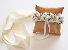 Gold Pillow Ring for Dogs Ivory White Flowers on by LADogStore, $42.50