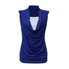 Cowl Neck White and Blue Sleeveless Tank Top ($19) ❤ liked on Polyvore featuring tops, blue, blue camisole, blue cami, collared tank top, blue tank and print tank top