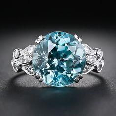 Blue Zircon, Platinum and Diamond Ring - 30-1-4893 - Lang Antiques