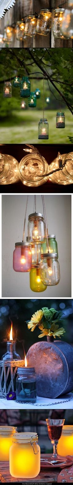 5 DIY Outdoor Mason Jar Lighting Projects. I would probably use battery-powered tea light candles..but Oh, I do love Mason jars...and they make any place more rustic and beautiful :) :) :)