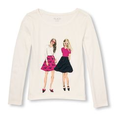 Girls Long Sleeve Embellished Graphic Top